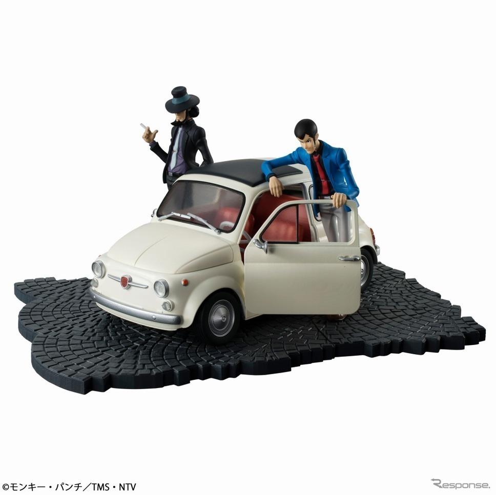 さらに本セットにはルパン三世と次元大介が乗り物と同スケールの彩色済みフィギュアとして同梱。ルパンはお馴染みの青いジャケットとグレーパンツの格好で、車に